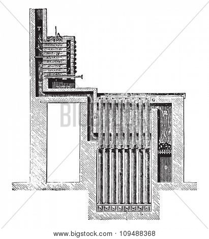 Furnace Blaise, vintage engraved illustration. Industrial encyclopedia E.-O. Lami - 1875.