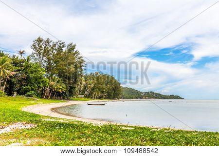 Beautiful  sea landscape with cloudy blue sky.