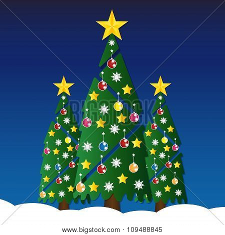 Christmas Tree With Colorful Ornaments And Glod Star On White Snow In Night Light. Vector Illustrati