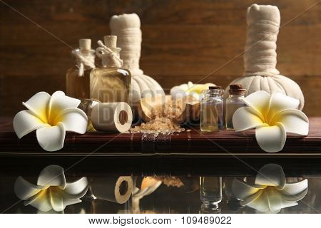 Relax set on the table against wooden background