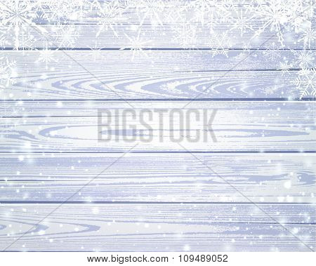 Wooden sparkling background with snowflakes. Vector illustration.
