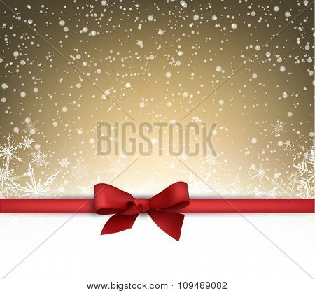 Festive card with red bow and snow. Vector illustration.