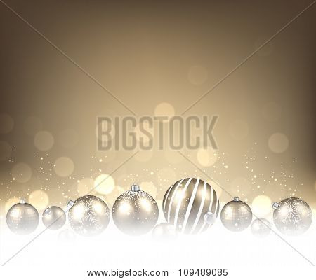 Christmas background with balls. Vector paper illustration.