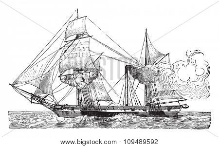 Wheeled Warship, vintage engraved illustration. Industrial encyclopedia E.-O. Lami - 1875.