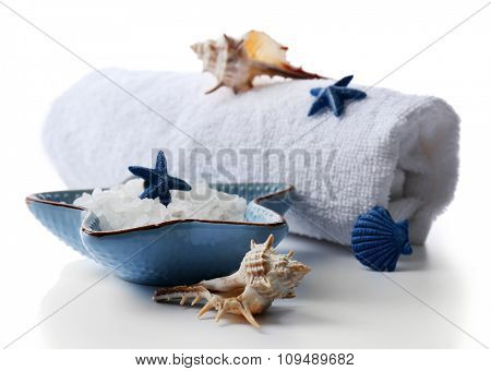 Marine style spa composition isolated on white background