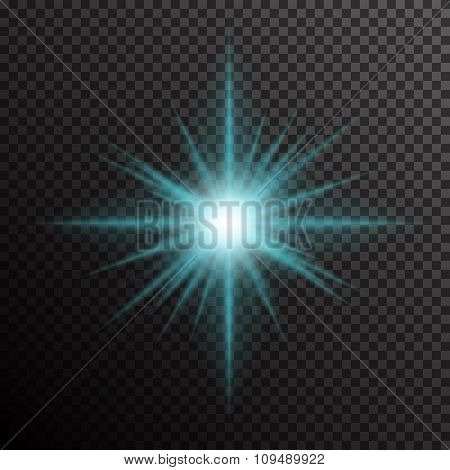 Glowing light burst with sparkles on transparent background