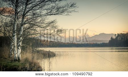 sunset at the Osterseen in Bavaria Germany