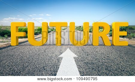 An image of a road to the horizon with 3d text future