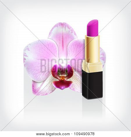 Orchid with pink lipstick