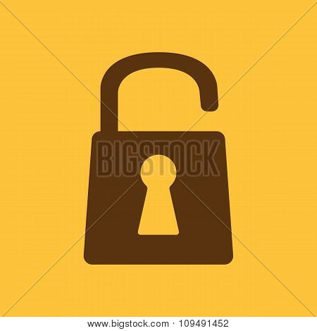 The open lock icon. Lock symbol. Flat