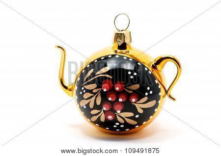 Small Russian Kettle Over White