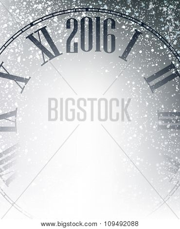 2016 New Year gray background with clock. Vector illustration.