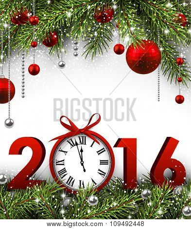2016 New Year background with fir branches and clock. Vector illustration.