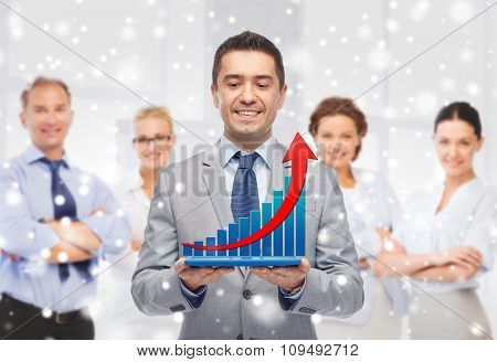 business, people, success and technology concept - happy smiling businessman holding tablet pc computer with virtual chart groving up over group of people and office room background and snow effect