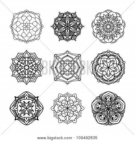 Vector Set Of Ethnic Black And White Decorative Patterns For Design
