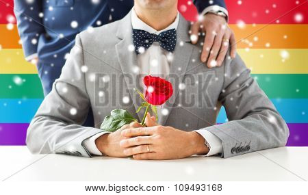 people, celebration, homosexuality, same-sex marriage and love concept - close up of male gay couple with red rose flower putting hand on shoulder over rainbow flag background and snow effect