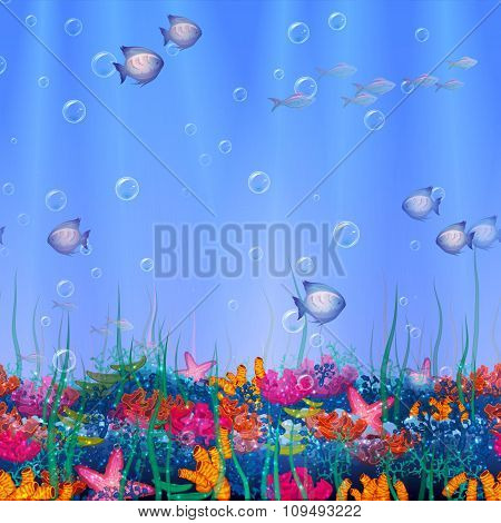 Vector seamless pattern with underwater cave