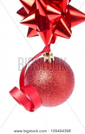 christmas ball with ribbon isolated on white background