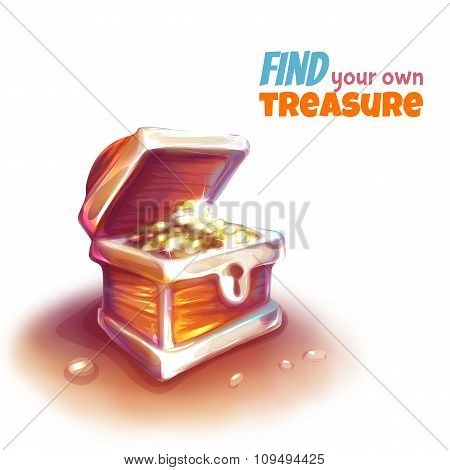 Vector illustration of treasure chest with coins