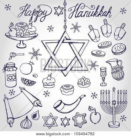 Hanukkah symbols.Doodle linearJewish Holiday set