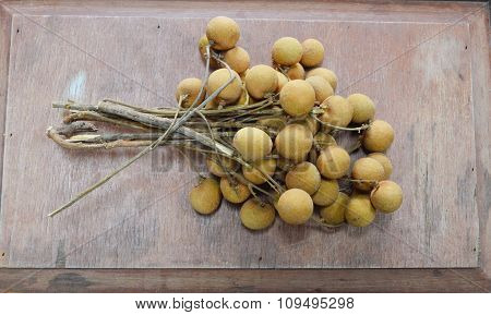Longan Thai fruit on the wood