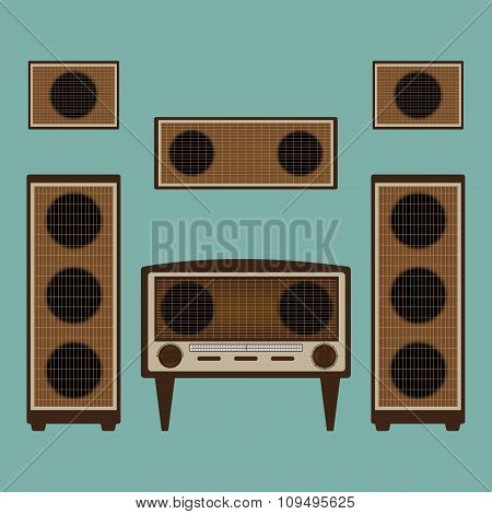 Vintage Old Radio Brown Color With Loudspeaker And Power Amplifier On Green Background. Flat Design