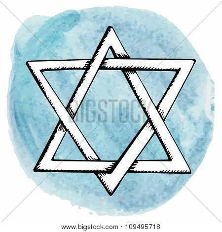 Star of David,Watercolor circle splash.Israel symbol