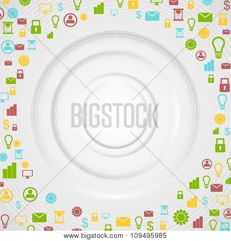 Grey tech background with bright communication icons. Vector design