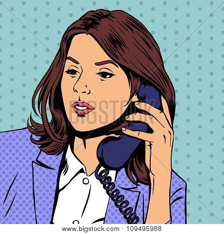 Businesswoman talking on the phone. Vector illustration in retro pop-art style