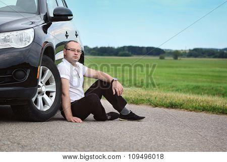 Happy Young Man Driver Near A New Car, Outdoors