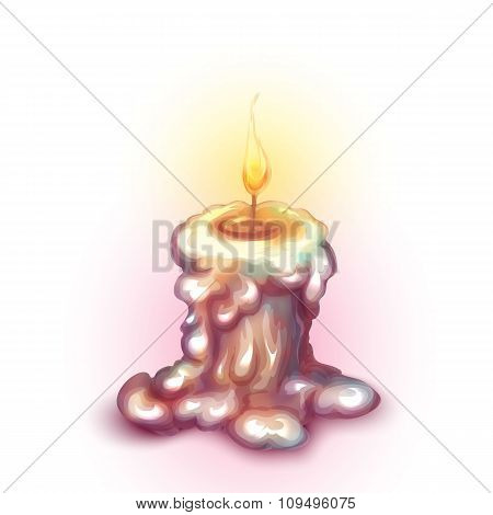 Vector illustration of old burning candle with shadow