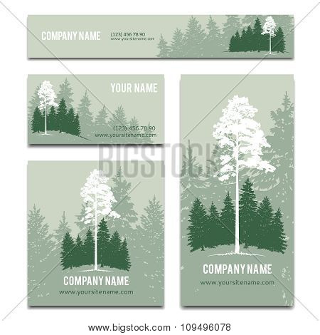 Business cards and brochure vector template design with green forest background