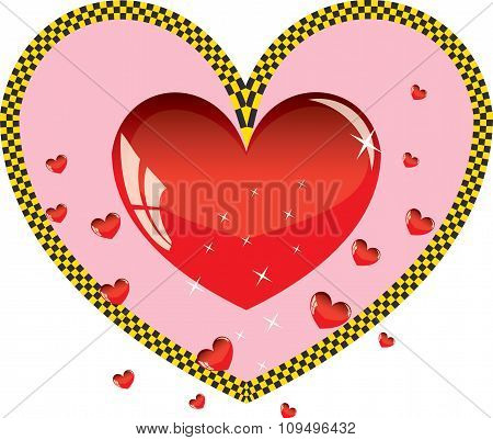 Valentines ornament with red love heart taxi vector illustration