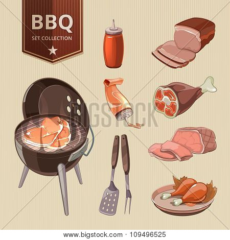 BBQ meat vector elements for vintage Barbecue poster