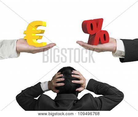 Euro Sign And Percentage Sign With Businessman Hand Holding Head