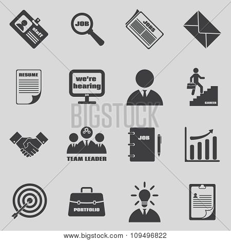 Job icons vector set. Human resources and employment symbols