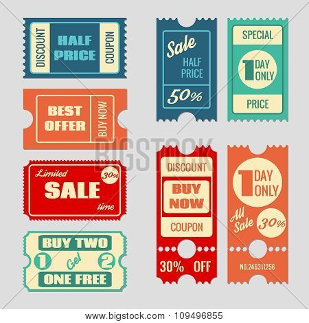Sale tickets vector collection