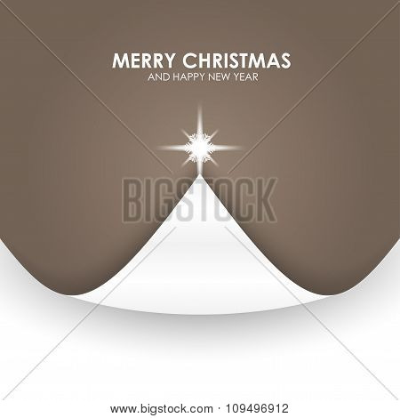 Christmas Background With Christmas Tree Paper Flap Beige