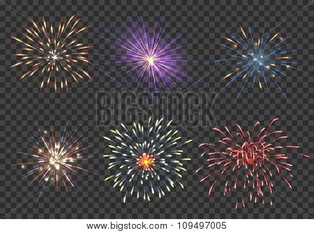 Vector fireworks set