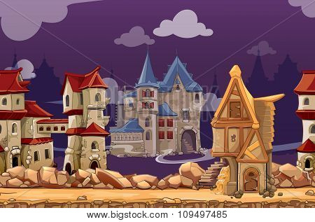 Medieval city seamless landscape vector background for computer game