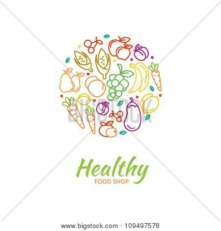 Healthy food store logo with fruit and vegetable icons