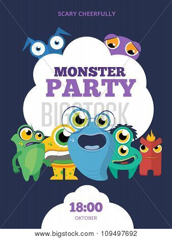Monster party vector invitation card, poster, background template design