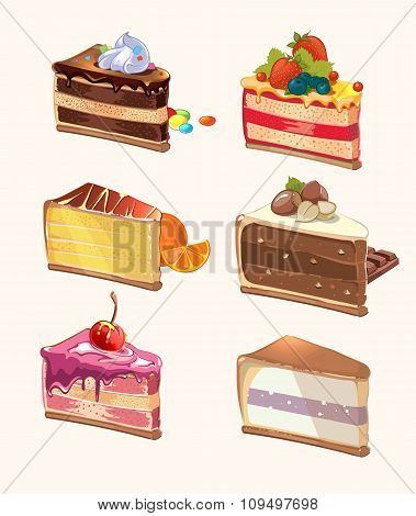 Cartoon cake pieces. Vector illustration