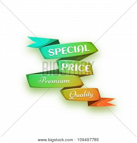 Vector illustration of curved paper banner. Ribbon. Special price and premium quality title