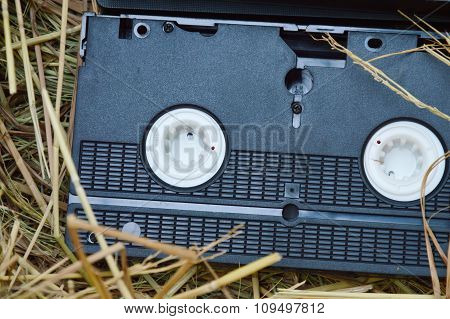 video recorder cassette on straw
