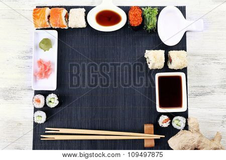 Served table for sushi party, top view