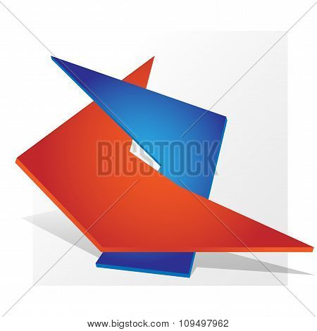 Dual Symbol Logo Parthnership Paper Design Red Blue
