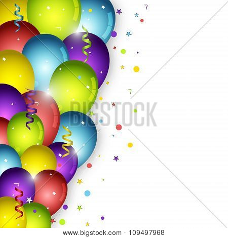 Birthday balloons on white background and confetti.