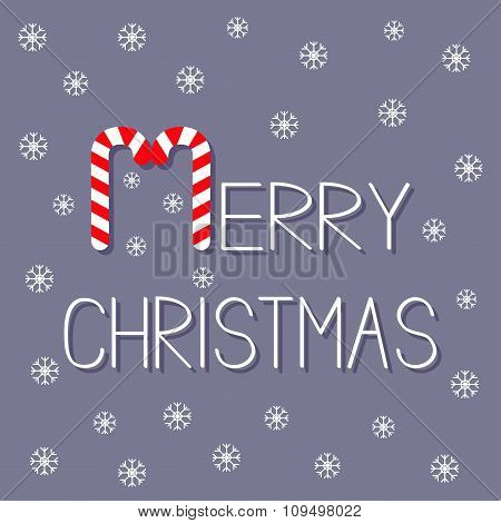 Merry Christmas Candy Cane Text. Snowflake. Flat Design. Violet Background.