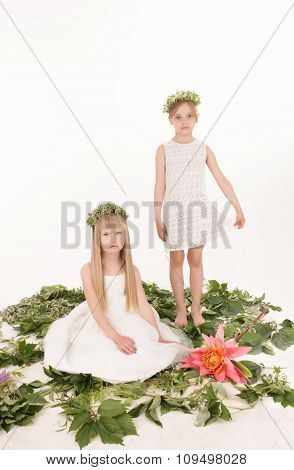 portrait of two beautiful little girls in an image of forest fairies